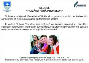 Anunt - Clubul Romana fara profesor-vector