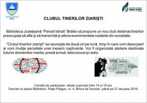 Anunt - Clubul tinerilor ziaristi-vector